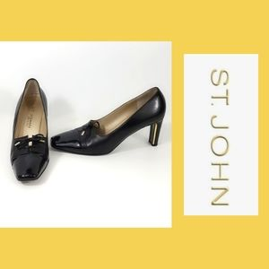 St. John Black & Patent Leather Low Heel Size 9.5